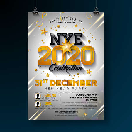 2020 New Year Party Celebration Poster Template Illustration with Shiny Gold Number on White Background. Vector Holiday Premium Invitation Flyer or Promo Banner.