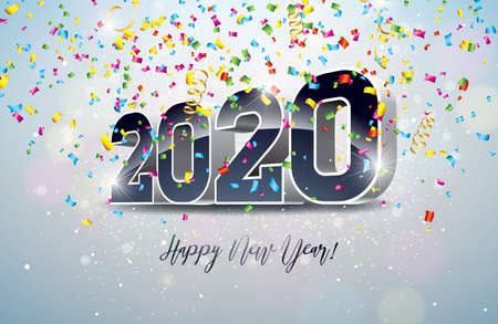 2020 Happy New Year illustration with 3d number and falling confetti on white background. Vector Holiday design for flyer, greeting card, banner, celebration poster, party invitation or calendar.