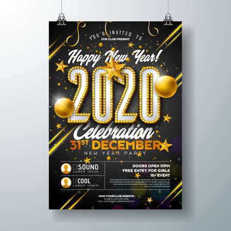 Ilustración de plantilla de cartel de celebración de fiesta de año nuevo 2020 con número de bombilla de luces y bola de Navidad dorada sobre fondo negro. Flyer de invitación premium de vacaciones de vector o banner promocional.