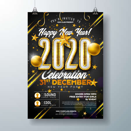 2020 New Year Party Celebration Poster Template Illustration with Lights Bulb Number and Gold Christmas Ball on Black Background. Vector Holiday Premium Invitation Flyer or Promo Banner.