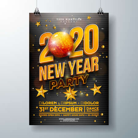 New Year Party Celebration Poster Template Design with 3d 2020 Number and Disco Ball on Black Background. Vector Holiday Premium Illustration for Invitation, Flyer or Promo Banner.