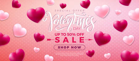 Valentines day sale design with red and white heart on pink background. Vector special offer illustration for coupon, banner, voucher or promotional poster.