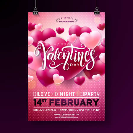 Vector Valentines Day Party Flyer Design with Typography and Balloon Heart on Pink Background. Love Celebration Poster Template for Invitation or Greeting Card. Иллюстрация