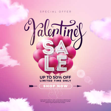Valentines day sale design with red heart balloon on pink background. Vector special offer illustration for coupon, banner, voucher or promotional poster.