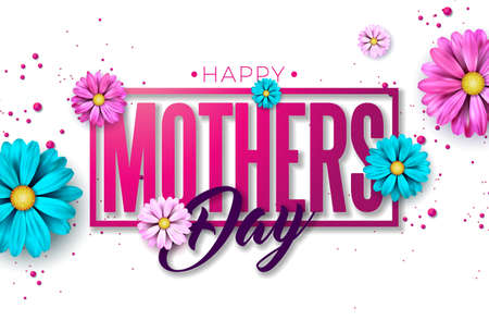 Happy Mothers Day Greeting card design with flower and typography letter on pink background. Vector Celebration Illustration template for banner, flyer, invitation