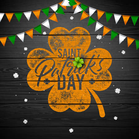 Saint Patricks Day Design with National Color Flag and Typography Letter on Vintage Wood Background. Vector Irish Beer Festival Celebration Holiday Illustration for Greeting Card or Party Invitation
