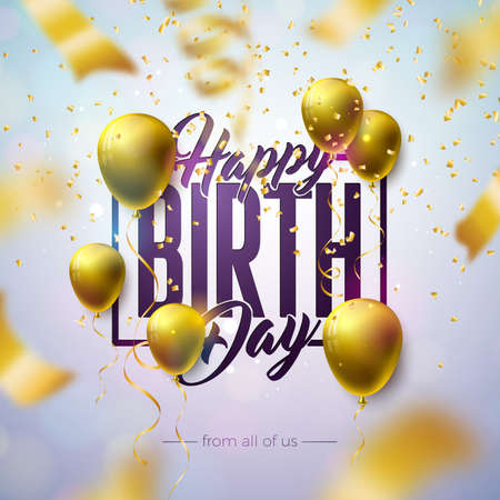 Happy Birthday Design with Balloon, Typography Letter and Falling Confetti on Light Background. Vector Illustration Template for Birthday Anniversary Celebration. Greeting Cards or Party Poster. Ilustracja