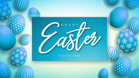 Happy Easter Illustration with Colorful Painted Egg on Light Blue Background. International Holiday Celebration Vector Design Template for Greeting Card, Party Invitation or Promo Banner.