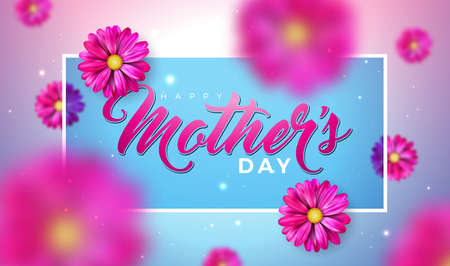 Happy Mothers Day Greeting Card Design with Falling Flower and Typography Letter on Pink Background. Vector Celebration Illustration Template for Banner, Flyer, Invitation, Brochure, Poster. Ilustracja