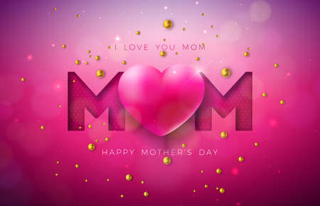I Love You Mom. Happy Mothers Day Greeting Card Design with Heart and Pearl on Red Background. Vector Celebration Illustration Template for Banner, Flyer, Invitation, Brochure, Poster.