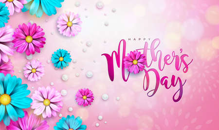 Happy Mothers Day Greeting Card Design with Flower and Typography Letter on Pink Background. Vector Celebration Illustration Template for Banner, Flyer, Invitation, Brochure, Poster. Illustration