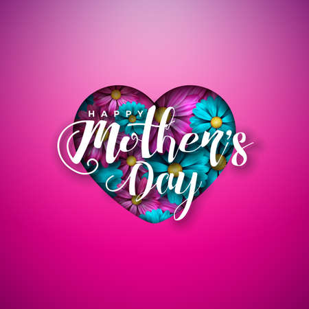 Happy Mothers Day Greeting Card Design with Flowers in Heart and Typography Letter on Pink Background. Vector Celebration Illustration Template for Banner, Flyer, Invitation, Brochure, Poster. Ilustracja