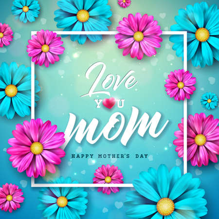 Happy Mothers Day Greeting Card Design with Flower and Typography Letter on Blue Background. Vector Celebration Illustration Template for Banner, Flyer, Invitation, Brochure, Poster.