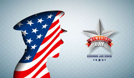 Memorial Day of the USA Vector Illustration. American National Celebration Design with Flag in Patriotic Soldier Silhouette on Light Star Pattern Background for Banner, Greeting Card or Holiday Poster.