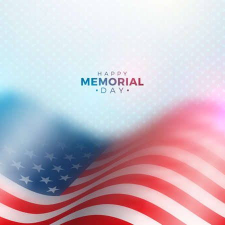 Memorial Day of the USA Vector Design Template with Blured American Flag on Light Star Pattern Background. National Patriotic Celebration Illustration for Banner, Greeting Card, Invitation or Holiday Poster.