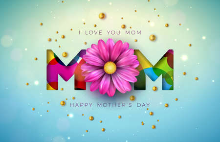 I Love You Mom. Happy Mothers Day Greeting Card Design with Flower and Pearl on Blue Background. Vector Celebration Illustration Template for Banner, Flyer, Invitation, Brochure, Poster.