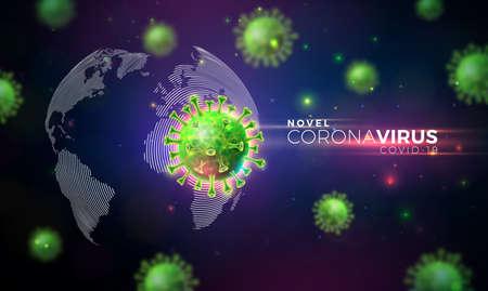 Covid-19. Coronavirus Outbreak Design with Virus Cell in Microscopic View on World Map Background. Vector 2019-ncov Coronavirus Illustration on Dangerous SARS Epidemic Theme for Banner. Ilustracja