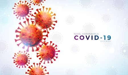 Covid-19. Coronavirus Outbreak Design with Falling Virus Cell and Typography Letter on Light Background. Vector 2019-ncov Coronavirus Illustration on Dangerous SARS Epidemic Theme for Banner.