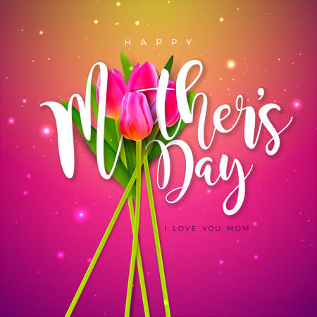 Happy Mothers Day Greeting Card Design with Tulip Flower and Typography Letter on Pink Background. Vector Celebration Illustration Template for Banner, Flyer, Invitation, Brochure, Poster. Ilustracja