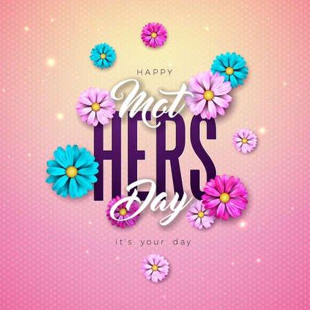 Happy Mothers Day Greeting Card Design with Flower and Typography Letter on Pink Background. Vector Celebration Illustration Template for Banner, Flyer, Invitation, Brochure, Poster. Ilustracja