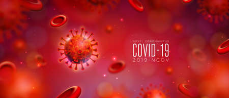 Covid-19. Coronavirus Outbreak Design with Virus and Blood Cell in Microscopic View on Abstract Background. Vector 2019-ncov Coronavirus Illustration on Dangerous SARS Epidemic Theme for Banner.