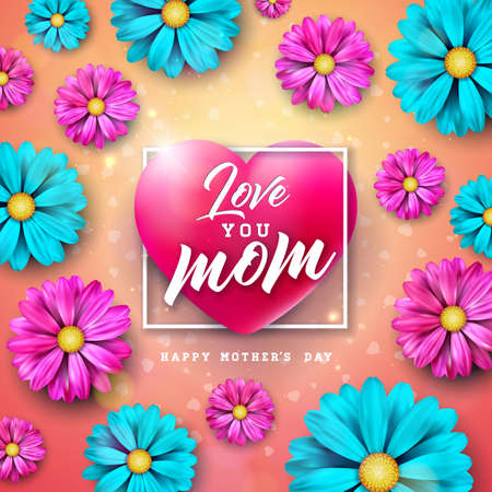 I Love You Mom. Happy Mothers Day Greeting Card Design with Flower and Typography Letter in Heart on Pink Background. Vector Celebration Illustration Template for Banner, Flyer, Brochure, Poster.