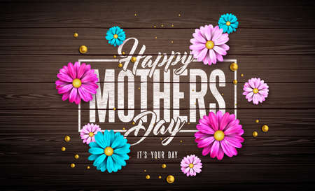 Happy Mothers Day Greeting Card Design with Flower and Typography Letter on Vintage Wood Background. Vector Celebration Illustration Template for Banner, Flyer, Invitation, Brochure, Poster.