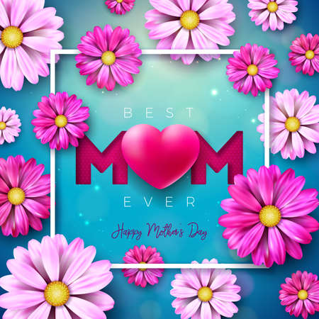 I Love You Mom. Happy Mothers Day Greeting Card Design with Flower and Red Heart on Blue Background. Vector Celebration Illustration Template for Banner, Flyer, Invitation, Brochure, Poster.