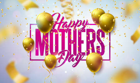 Happy Mothers Day Greeting Card Design with Gold Balloon and Falling Confetti on Light Background. Vector Celebration Illustration Template for Banner, Flyer, Invitation, Brochure, Poster. Ilustracja