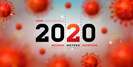 2020 Stop Coronavirus Design with Falling Covid-19 Virus Cell on Light Background. Vector 2019-ncov Coronavirus Outbreak Illustration. Stay Home, Stay Safe, Wash Hand and Distancing. Ilustracja