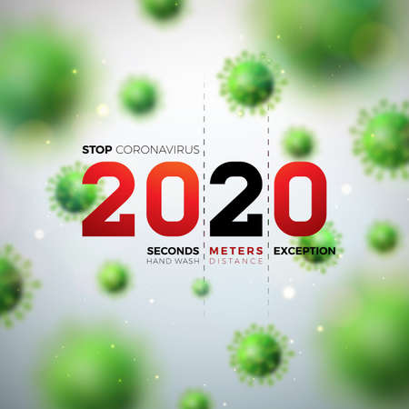 2020 Stop Coronavirus Design with Falling Covid-19 Virus Cell on Light Background. Vector 2019-ncov  Virus Outbreak Illustration. Stay Home, Stay Safe, Wash Hand and Distancing. Ilustracja