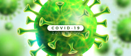 Covid-19. Coronavirus Outbreak Design with Virus and Blood Cell in Microscopic View on Light Background. Vector 2019-ncov  Illustration on Dangerous SARS Epidemic Theme for Banner.
