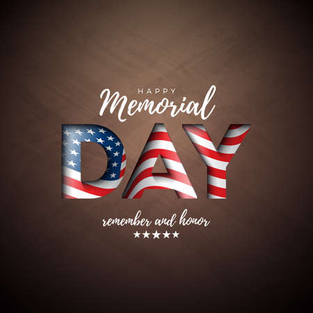 Memorial Day of the USA Vector Design Template with American Flag in Cutout Letter on Brown Board Background. National Patriotic Celebration Illustration for Banner, Greeting Card, Invitation orPoster Ilustracja