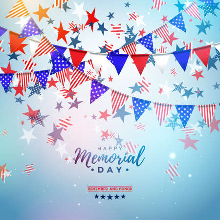 Memorial Day of the USA Vector Design Template with American Color Party Flag and Falling Stars on Shiny Blue Background. National Patriotic Celebration Illustration for Banner or Greeting Card