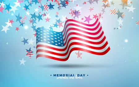 Memorial Day of the USA Vector Design Template with American Flag on Falling Colorful Star Background. National Patriotic Celebration Illustration for Banner, Greeting Card, Invitation or Poster.