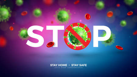 Stay Home. Stop Coronavirus Design with Falling Covid-19 Virus Cell on Light Background. Vector 2019-ncov  Virus Outbreak Illustration. Stay Safe, Wash Hand and Distancing.