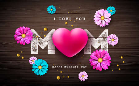 I Love You Mom. Happy Mothers Day Greeting Card Design with Heart and Pearl on Vintage Wood Background. Vector Celebration Illustration Template for Banner, Flyer, Invitation, Brochure, Poster.