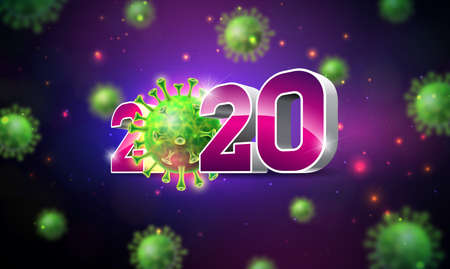 2020 Stop Coronavirus Design with Falling Covid-19 Virus Cell on Dark Background. Vector 2019-ncov  Virus Outbreak Illustration. Stay Home, Stay Safe, Wash Hand and Distancing.