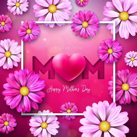 I Love You Mom. Happy Mothers Day Greeting Card Design with Flower and Red Heart on Pink Background. Vector Celebration Illustration Template for Banner, Flyer, Invitation, Brochure, Poster.
