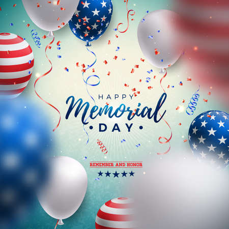 Memorial Day of the USA Vector Design Template with American Flag Air Balloon and Falling Confetti on Shiny Blue Background. National Patriotic Celebration Illustration for Banner or Greeting Card Ilustracja
