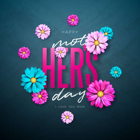 Happy Mothers Day Greeting Card Design with Flower and Typography Letter on Dark Background. Vector Celebration Illustration Template for Banner, Flyer, Invitation, Brochure, Poster. Ilustracja