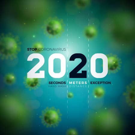 2020 Stop Coronavirus Design with Falling Covid-19 Virus Cell on Blue Background. Vector 2019-ncov  Virus Outbreak Illustration. Stay Home, Stay Safe, Wash Hand and Distancing. Ilustracja