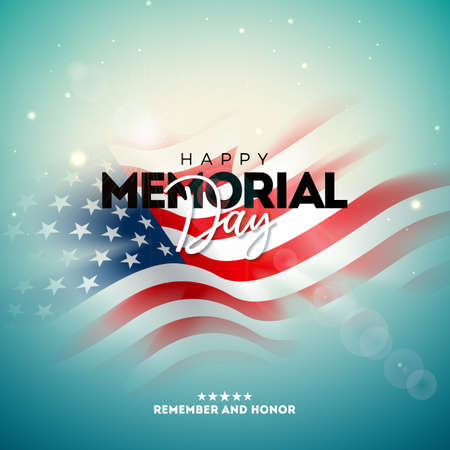 Memorial Day of the USA Vector Design Template with Blured American Flag on Light Background. National Patriotic Celebration Illustration for Banner, Greeting Card, Invitation or Holiday Poster.