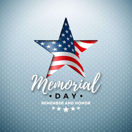 Memorial Day of the USA Vector Design Template with American Flag in Cutting Star Symbol on Light Background. National Patriotic Celebration Illustration for Banner, Greeting Card or Holiday Poster.