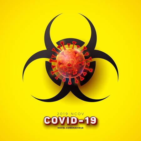 Covid-19. Novel Coronavirus Concept Design with Virus Cell and Biological Danger Symbol on Yellow Background. Vector 2019-nCoV Virus Illustration on Dangerous SARS Epidemic Theme. Ilustracja