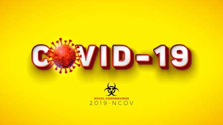 Covid-19. Novel Coronavirus Concept Design with Virus Cell and Biological Danger Symbol on Yellow Background. Vector 2019-nCoV Coronavirus Illustration on Dangerous SARS Epidemic Theme. Ilustracja
