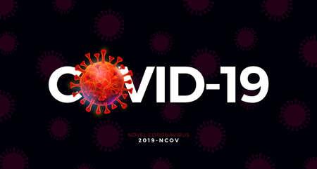 Covid-19. Coronavirus Outbreak Design with Virus Cell on Abstract Dark Background. Vector 2019-ncov  Virus Illustration on Dangerous SARS Epidemic Theme for Banner.