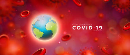 Covid-19. Coronavirus Epidemic Design with Virus and Blood Cells and Earth on Red Background. Vector 2019-ncov  Virus Illustration Template on Dangerous SARS Outbreak Theme for Promotional Banner or Flyer. Ilustracja