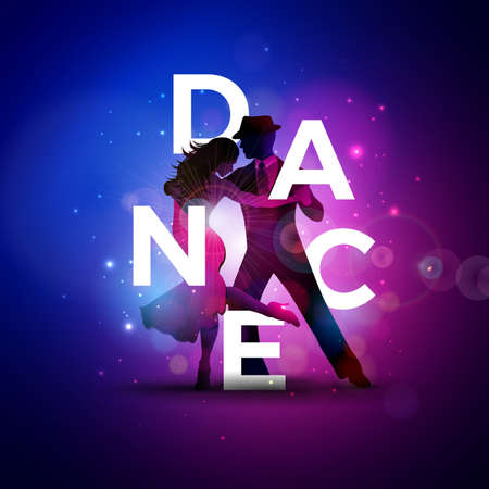 Dance Illustration with Tango Dancing Couple and White Letter on Colorful Background. Vector Design Template for Banner, Flyer, Invitation, Brochure, Poster or Greeting Card. International Dance Day.