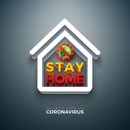 Stay Home. Stop Coronavirus Design with Covid-19 Virus and 3d House Symbol on Dark Background. Vector 2019-ncov  Virus Outbreak Illustration on Dangerous SARS Epidemic Theme for Banner. Ilustracja